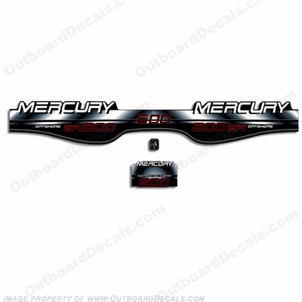 Mercury 200hp Offshore BlackMax Decals - White/Black