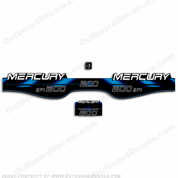 Mercury 200hp EFI Decals - 1994 - 1998 (Blue)