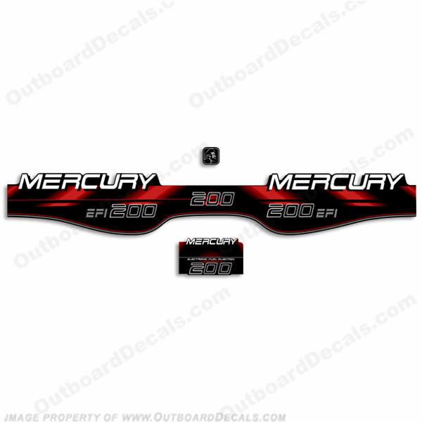 Mercury 200hp EFI Decals - 1994 - 1998 (Red)