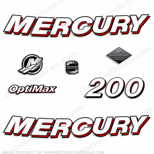 Mercury 200hp Optimax Decals - 2006