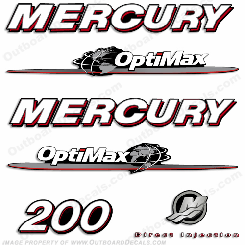 Mercury 200hp Optimax Decal Kit 2007 - 2012