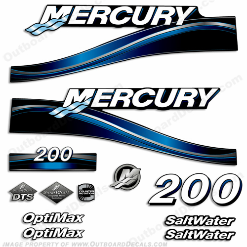 Mercury 200hp Optimax Decal Kit - 2005 (Blue)