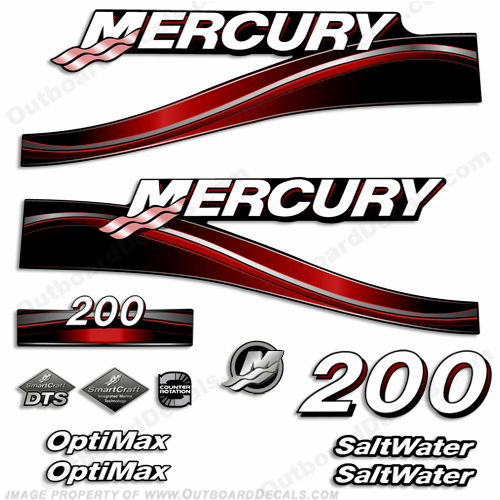 Mercury 200hp Optimax Decal Kit - 2005 (Red)