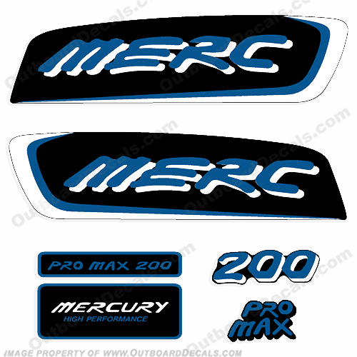 Mercury 200hp Pro Max Decal Kit - Blue/White pro. max, pro max, pro-max, promax, ProMax