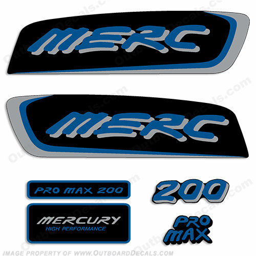 Mercury 200hp Pro Max Decal Kit - Blue/Silver pro. max, pro max, pro-max, promax