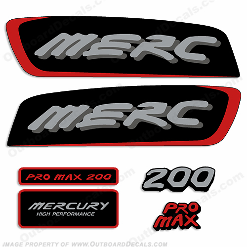 Mercury 200hp Pro Max Decal Kit - Red/Silver pro. max, pro max, pro-max, promax
