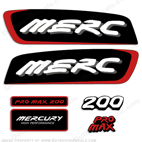 Mercury 200hp Pro Max Decal Kit - Red pro. max, pro max, pro-max, promax