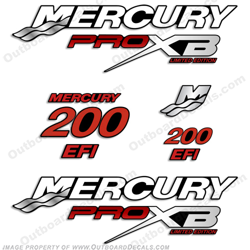Mercury 200hp Pro XB Limited Edition Decals (Red) 200 horse power, 200-hp, pro-xb, proxb, 200