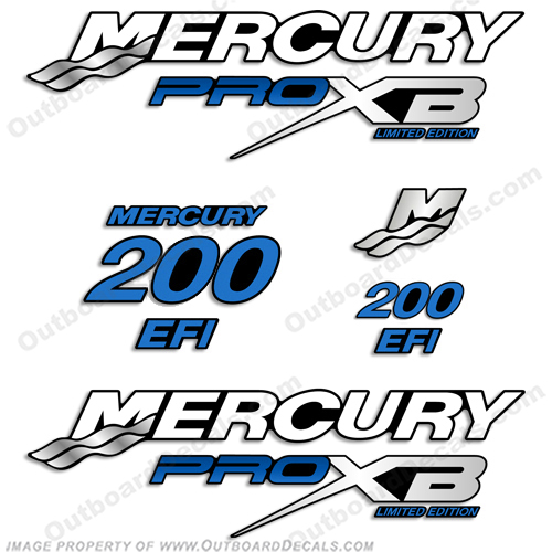 Mercury 200hp Pro XB Limited Edition Decals (Blue) 200 h.p., 200 horse power, 200-hp, pro-xb, proxb, 200
