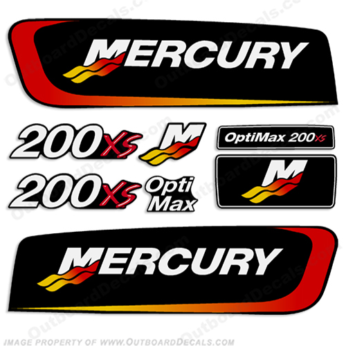 Mercury 200xs Optimax Alien Cowl Decal Kit pro. max, pro max, pro-max, promax