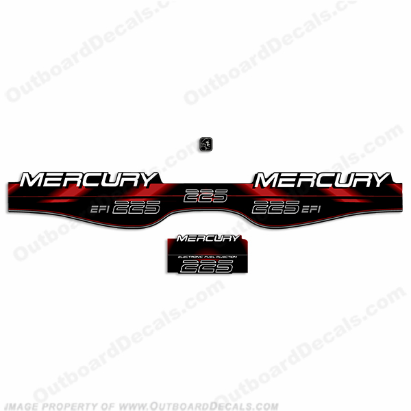 Mercury 225hp EFI Decals - 1994 - 1998 (Red)