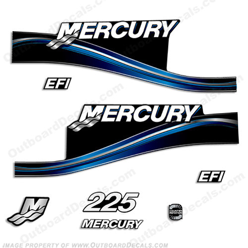 Mercury 225hp EFI Decal Kit -  2005 Style (Blue) 225
