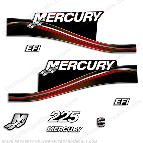 Mercury 225hp EFI Decal Kit -  2005 Style (Red) 225