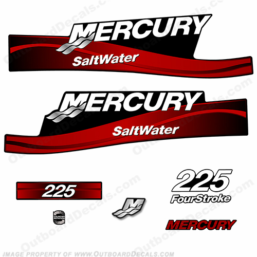 Mercury 225hp Four Stroke Saltwater Series Decals - (Red) fourstroke, 4s, 4stroke, 4-s,