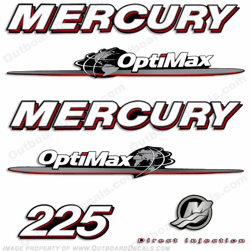 Mercury 225hp Optimax Decal Kit 2007 - 2012