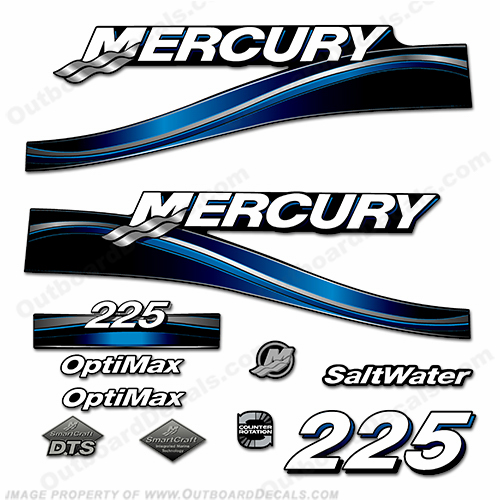Mercury 225hp Optimax Saltwater Decal Kit 2005 (Blue)