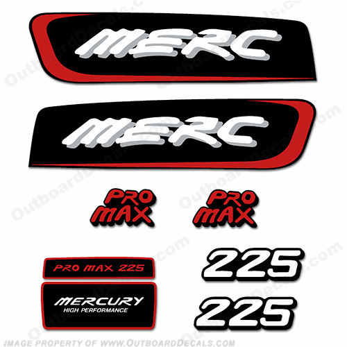 Mercury 225hp Pro Max Decal Kit - Red pro. max, pro max, pro-max, promax