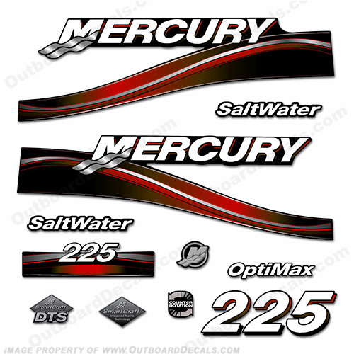Mercury 225hp Saltwater Optimax Decal Kit 2005 (Red)