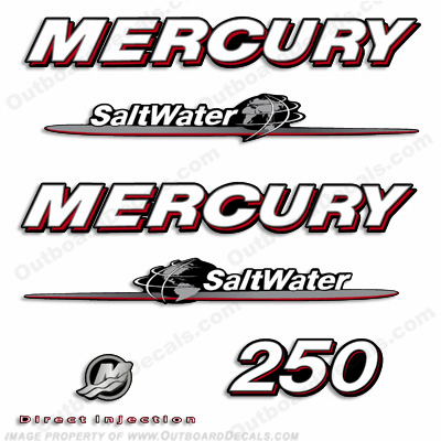 Mercury 250hp Saltwater Decals - 07-08