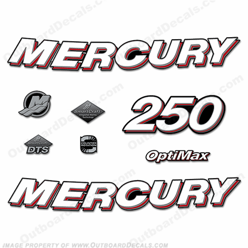 Mercury 250hp Optimax Decals - 2006