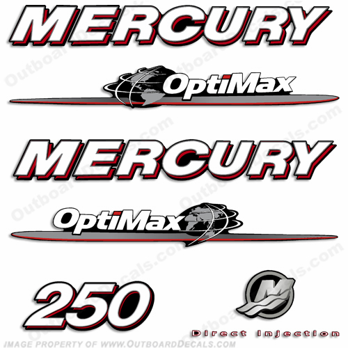 Mercury 250hp Optimax Decal Kit 2007 - 2012