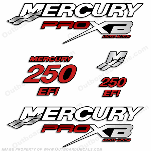 Mercury 250hp Pro XB Limited Edition Decals (Red)