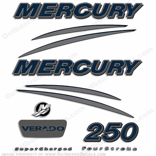 Mercury Verado 250hp Decal Kit - Navy/Charcoal