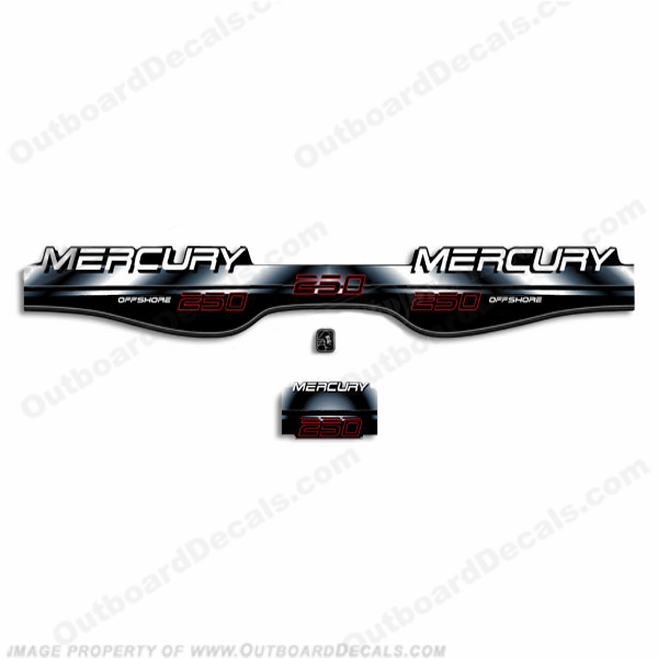 Mercury 250hp Offshore BlackMax Decals - 97-98