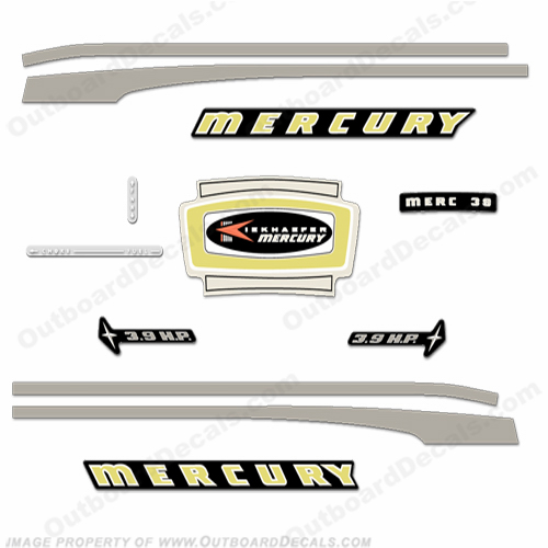 Mercury 1965 3.9HP Outboard Engine Decals