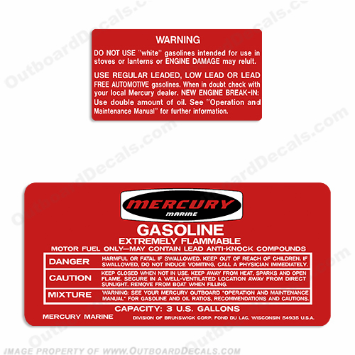 Mercury 1973-1978 3 Gallon Gas Tank Decals