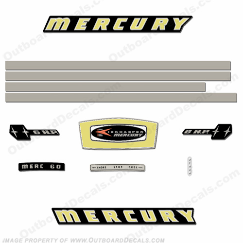 Mercury 1965 6HP Outboard Engine Decals