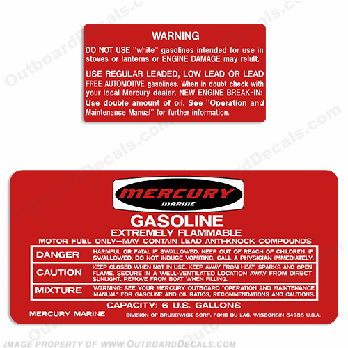 Mercury 1973-1978 6 Gallon Gas Tank Decals