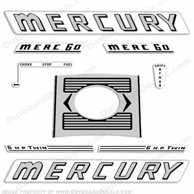 Mercury 1961 6HP Outboard Engine Decals