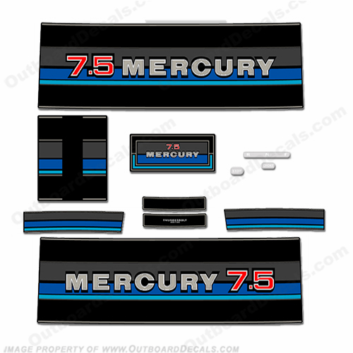 Mercury 1982 7.5HP Outboard Engine Decals
