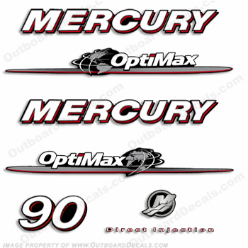 "Mercury 90hp ""Optimax"" Decals - 2007-2012"