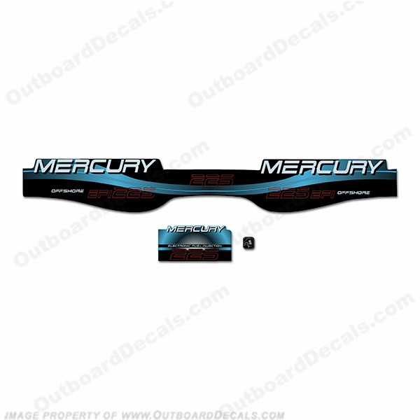 Mercury 225hp Offshore BlackMax Decals - Custom Style