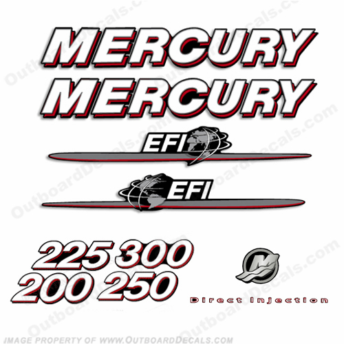 Mercury 200hp-300hp EFI Decal Kit 2007 - 2012