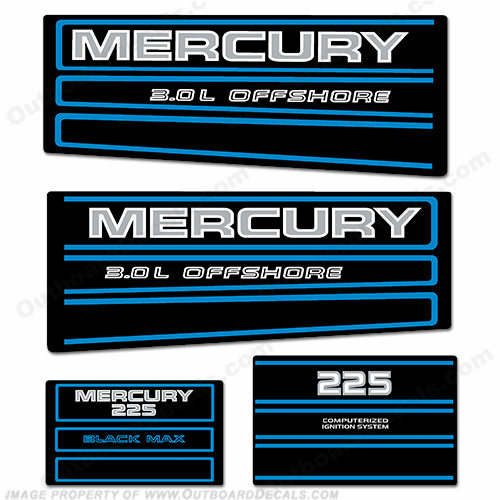 Mercury 225hp Offshore BlackMax Decals