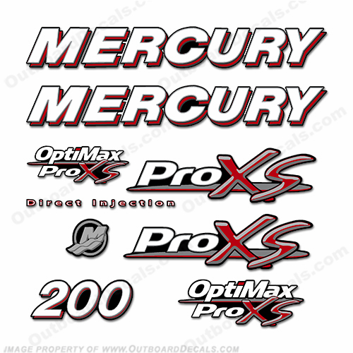 Mercury 200hp Optimax ProXS Decal Kit pro xs, optimax proxs, optimax pro xs, optimax pro-xs, pro-xs, 200 hp