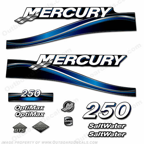 Mercury 250hp Optimax Decal Kit - 2005 (Blue)