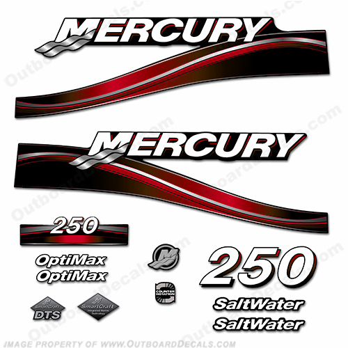 Mercury 250hp Optimax Decal Kit - 2005 (Red)