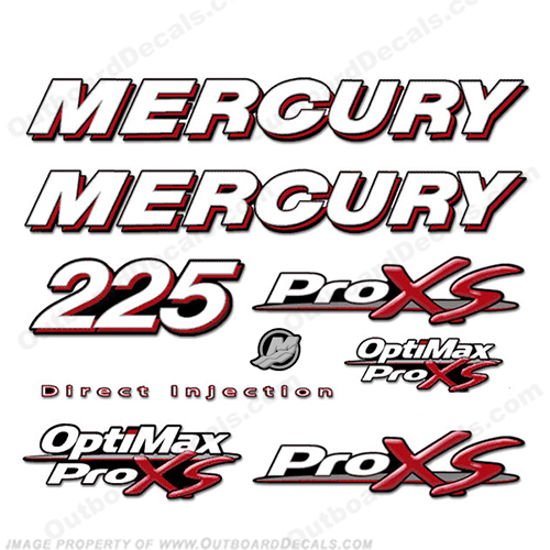 Mercury 225 Optimax ProXS Decal Kit pro xs, optimax proxs, optimax pro xs, optimax pro-xs, pro-xs, 225 hp