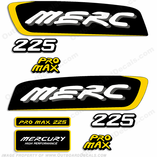 Mercury 225hp Pro Max Decal Kit - Yellow pro. max, pro max, pro-max, promax