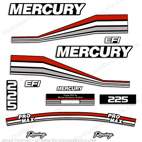 Mercury 225 Pro Max Efi Racing Racing Partial Decals 94-97 - Custom Red/Silver