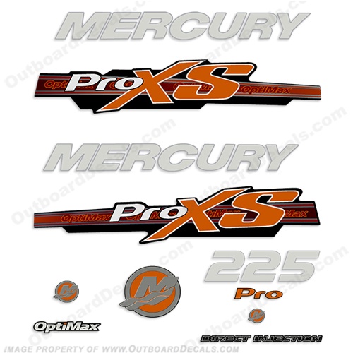 Mercury 225hp ProXS Decal Kit - Orange pro xs, optimax proxs, optimax pro xs, optimax pro-xs, pro-xs, 225 hp