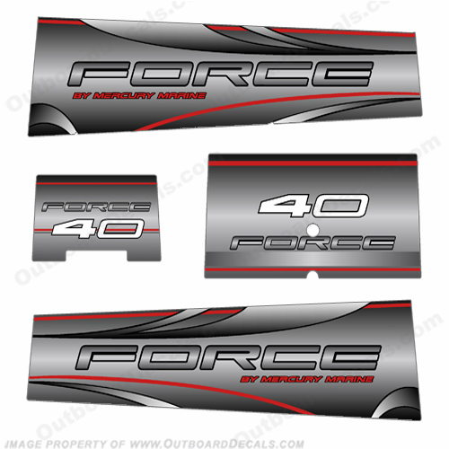 Mercury Marine Force 40hp Decals - Silver