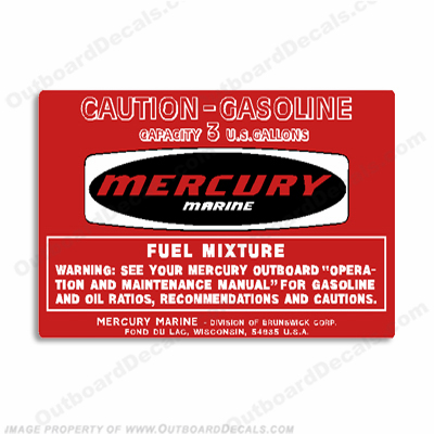 Mercury 1974 3 Gallon Gas Tank Decal