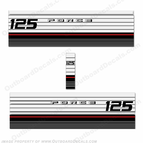 Mercury Marine Force 125hp Decal Kit - 1983-1986