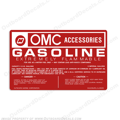 OMC 6 Gallon Fuel Tank Decal Gas