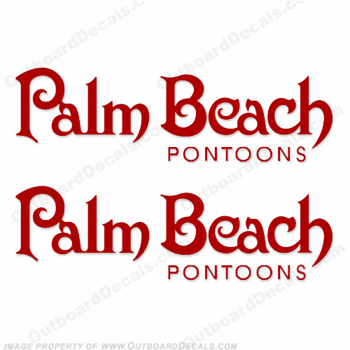 Palm Beach Pontoons Boat Logo Decals - Any Color!